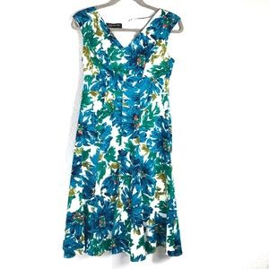 Jones New York Floral Sleeveless Dress 4 EUC